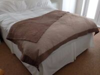 Beautiful 'Linea Home' cappuccino dual-sided throw with elegant embroidered design