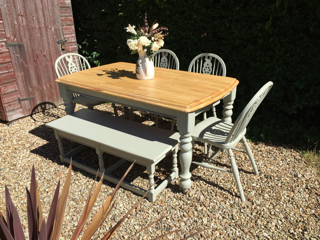 Stunning Farmhouse Rustic Oak Dining Table Four Chairs  : 86 from www.gumtree.com size 1024 x 768 jpeg 229kB