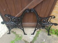 ANTIQUE SMALL CAST IRON LION HEADS RARE GARDEN BENCH ENDS REFURBISHED