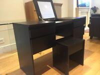 IKEA Hemnes Dark Brown Wood Dressing Table and Stool - £100