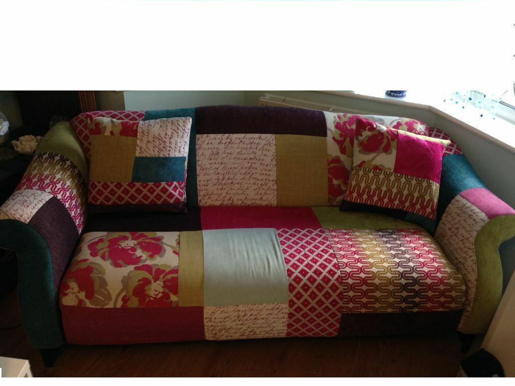 Dfs shout patchwork sofa footstool in peasedown st for Sofa patchwork