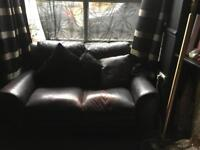 Brown leather 2 seater settee, free