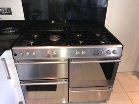 Cooker - 7 gas burners, 2 fan ovens, I drawer & separate grill for cooker range