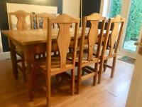 6/8 Dining Table (Solid Pine) + 6 Pine Chairs