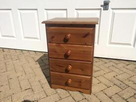 Attractive Solid Pine Slim Chest Of Drawers