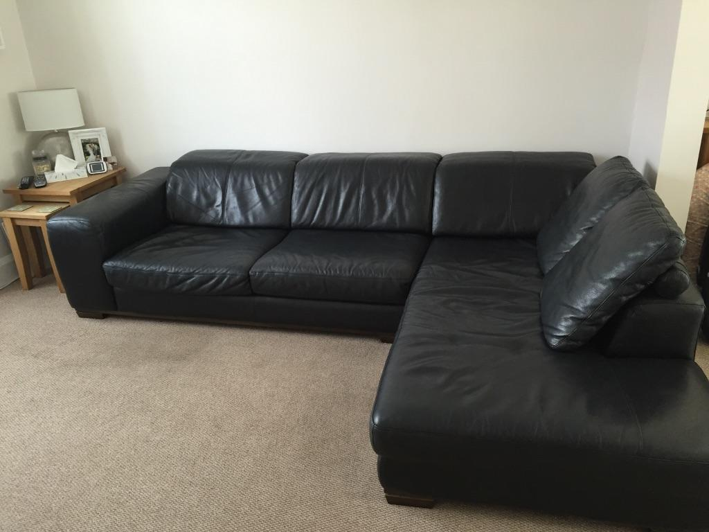 Dfs leather black corner sofa in southend on sea essex for Black corner sofa
