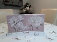 Set of two pink floral prints