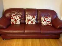 1 Three seater sofa + 2 single leather sofa