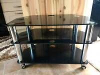 Tiered Black Glass TV Stand on Wheels
