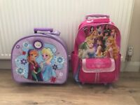 Girls Frozen & Princess; Luggage Bags x2