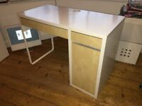 Ikea desk with two drawers under and a side cupbaord