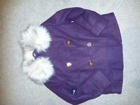 Burgandy double breasted girls coat