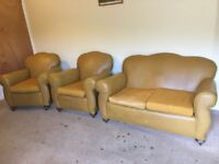 Edwardian sofa and 2 armchairs reupholstered in 1960s
