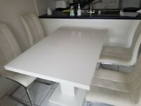 White Gloss Dining Table and 4 White Faux Leather Chairs