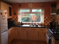 Kitchen wall and base units with gas hob