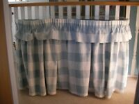 Whitewood kidney shape dressing table pale blue/grey drapes glass top 6 drawers and shelf