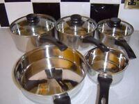 HELLS KITCHEN PAN SET WITH MATCHING STEAMER&STOCK POT