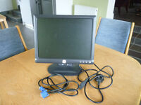 Dell Flat Screen Computer Monitor - measures 15 inches on the diagonal - black