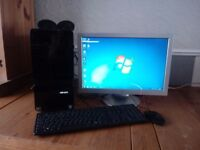 Windows 7 pc 64 bit, 3 gb ram includes monitor,mouse,keyboard and speakers all working