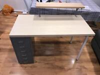 Ikea Study Desk with Filing Cabinet