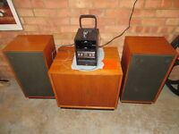Teak Dynatron speakers x 2 and music cabinet £65 collection Rackheath