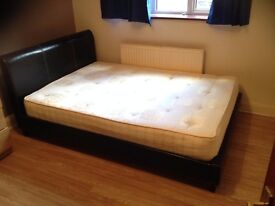 Leather style small double bed with mattress (queen size)