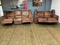 REAL ITALIAN LEATHER SOFA SET ELECTRIC RECLINER 3+2 seater