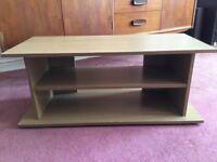 Oak effect tv unit with 2 shelves