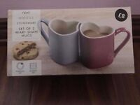 Next Stoneware set of 2 Hearts Shape Mugs New in Box