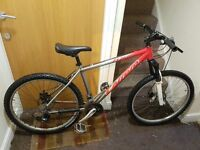 Carrera mountain bike with 26 inch wheel size and 19.5 inch frame.