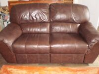 Set of 2 Brown 2 seater reclining sofas in very good condition