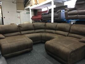Ex Display LazyBoy Large Recliner Corner Sofa + Double Recliner Chaise