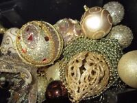 Luxury Christmas Job Lot x 58 GOLD BROWN Hanging Glitter Floral Tree Decorations