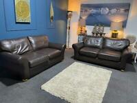 Marks & Spencer's brown leather suite 3 seater sofas x 2