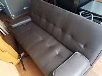 Leather Sofa Bed (Dark Brown)