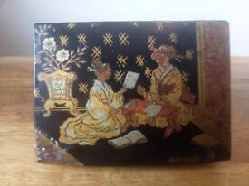 Old Japanese trinket box lacquered circa 1900