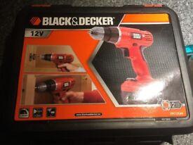 Black & Decker Cordless Drill Driver in Kitbox 12v plus drill heads
