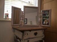 wooden shabby chic dressing table mirror three way mirror