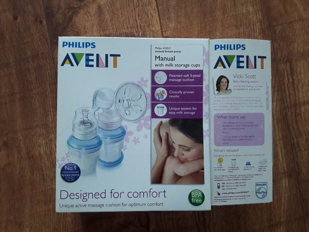 Avent manual breast pump, like new and in box plus spare parts