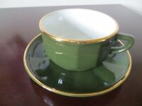 Dark green Porcelaine France Apilco 4 inch coffee cups excellent condition