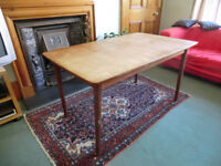 Wood Dining Table with two additional leaves W80cm L132/160/188cm H72cm. Seat 6/8/10 people.