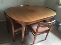 G-plan teak dining table and 4 chairs