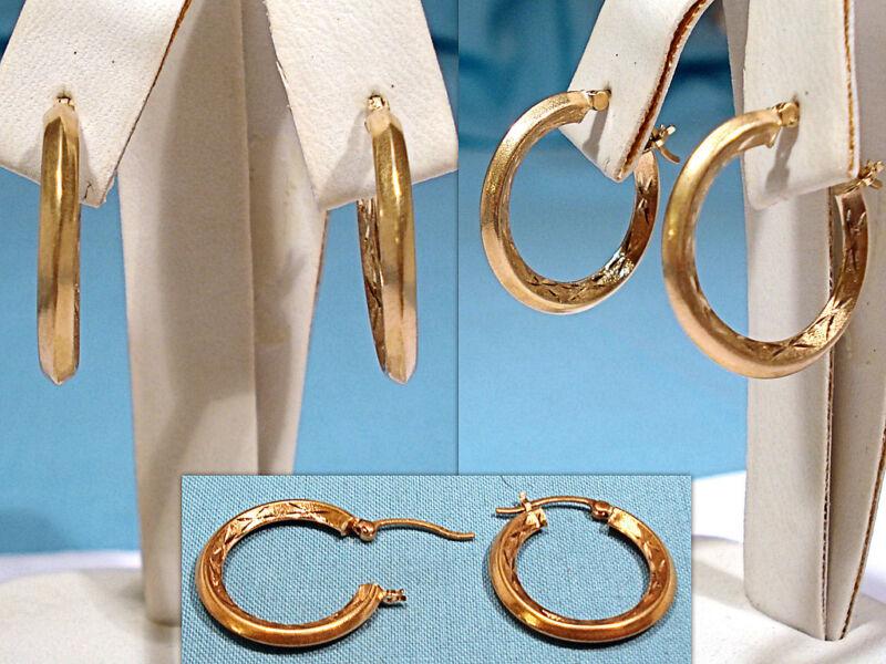 SOLID 10K YELLOW GOLD DECORATED HOOP PIERCED EAR EARRINGS