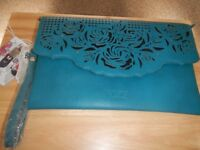 LYDC teal & black cut out clutch bag with removable wrist strap brand new with tags