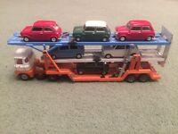 Vintage Corgi Scammell Triple Decker Car Transporter complete with 7 minis