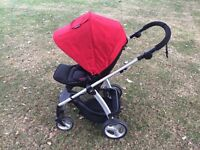 Red Mamas & Papas Sola 2 pushchair with carseat with isofix base, adaptors & extra seat cover