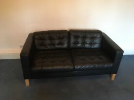 Ikea Karlsfors 2 seater Black Leather Sofa in Very Good Condition