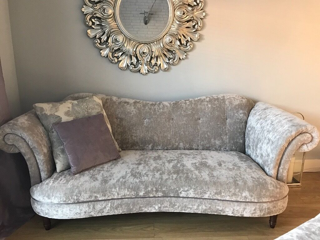 Dfs Crushed Velvet Silver Concerto Sofa X2