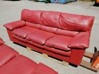 Red leather 3 seater & 2 seater sofa