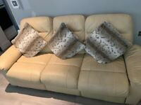Buttermilk cream leather recliner sofas